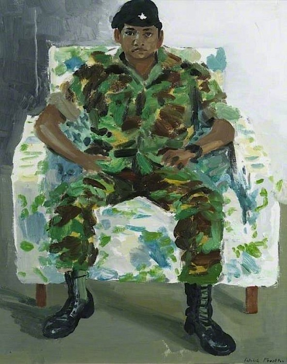 Patrick Procktor, R. F. M. Harka Raj Rai, 10th Prime Minister's Official Representative: Gurkha in Belize, 1983, oil on canvas