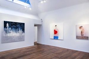 Paintings by Silke Otto-Knapp and Alessandro Raho, with a photograph by Jack Pierson.