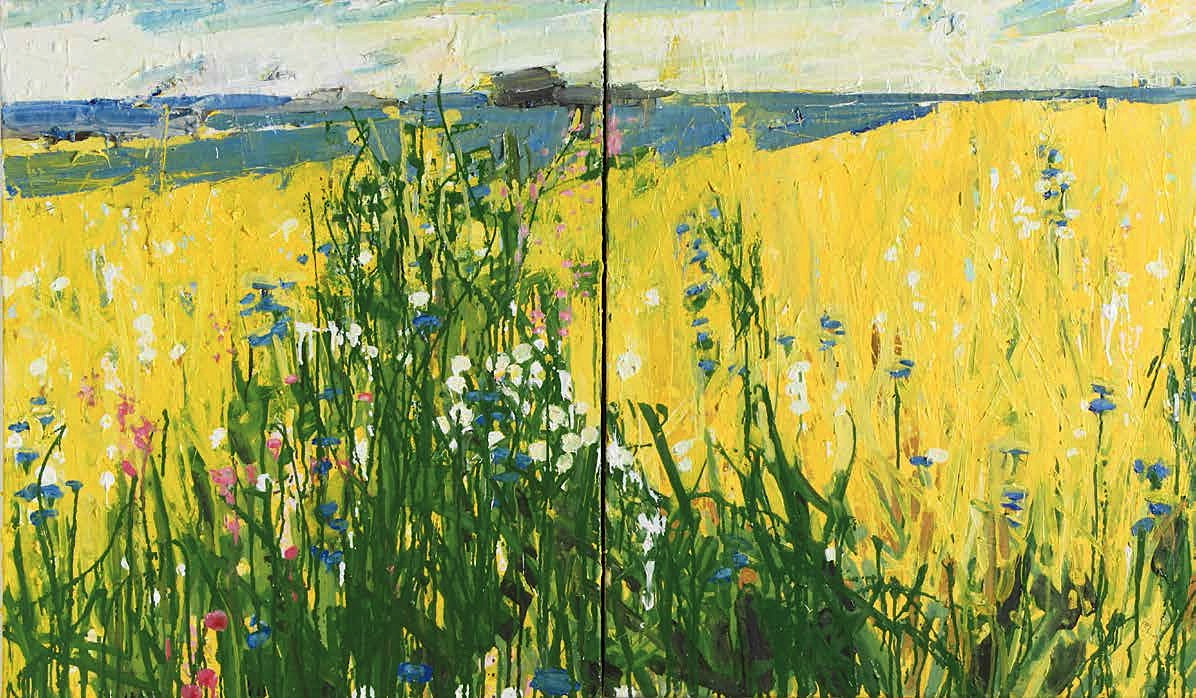 Ffiona Lewis - Meadow on Chrome Yellow, 2017, (diptych), oil on canvas